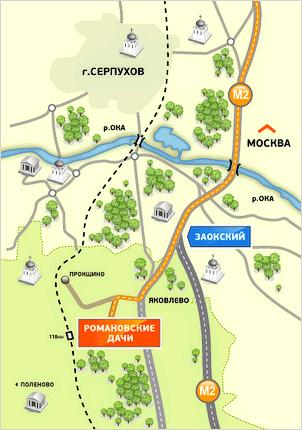 схема проезда в Романовские Дачи
